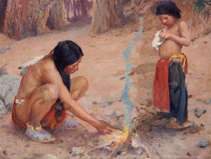 "Painting by El Couse, ""The Campfire"""